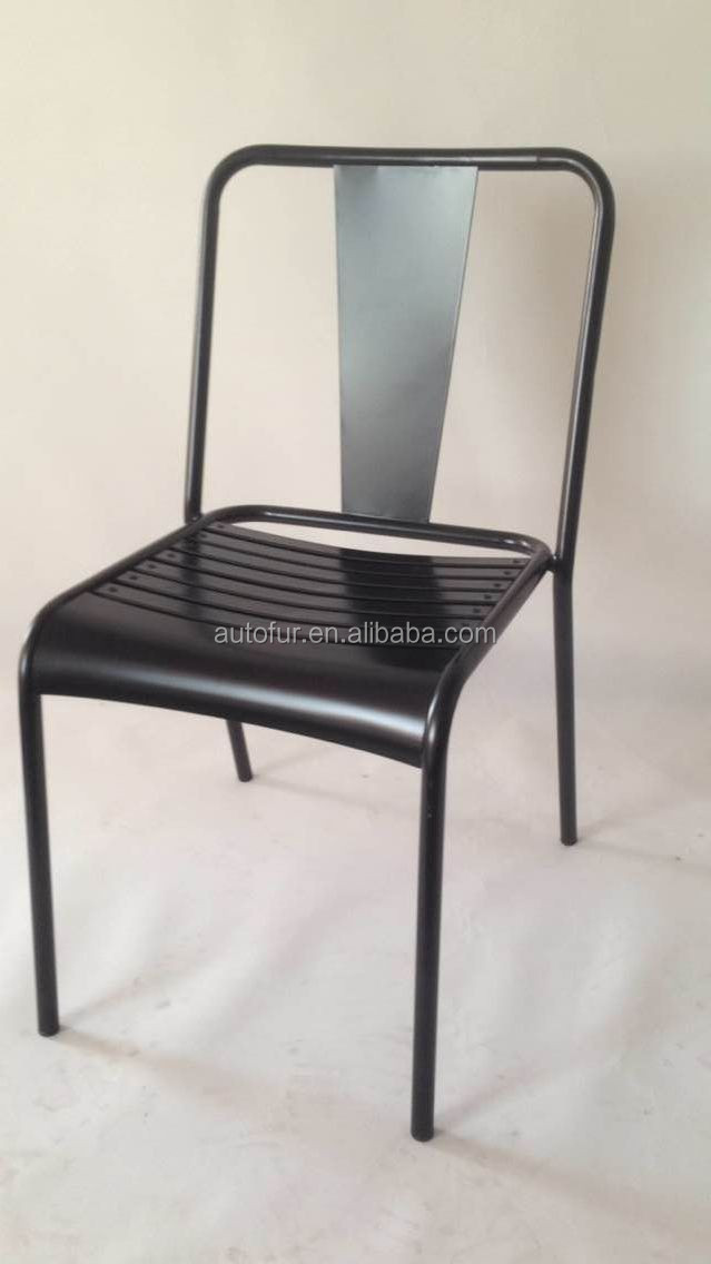 Industrial metal outdoor garden dining chair teak slat seat