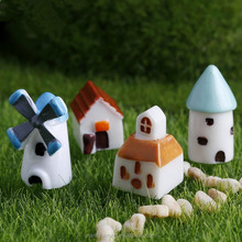European style house mini windmill,church,cabin ,castle doll ornaments micro landscape decoration