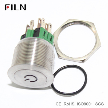 25mm stainless steel ring illuminated ring white 12V LED metal power logo push button switch