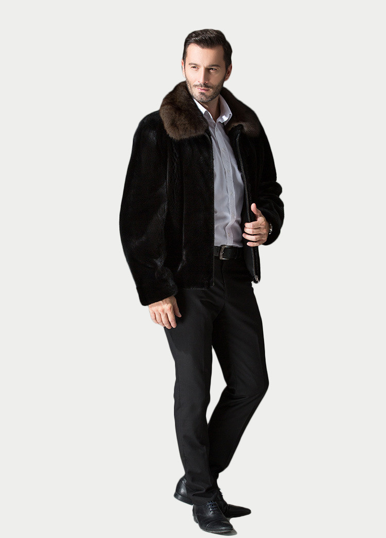 Hot Selling Turn-Down Collar Genuine Mink Fur Coat for Men