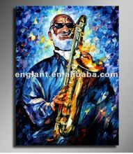 Facoryt direct sale famous artist canvas painting with axophone playing