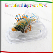 aquarium fluorescent decoration colorful lionfish glow in the dark floating silicon ornament for fish tank