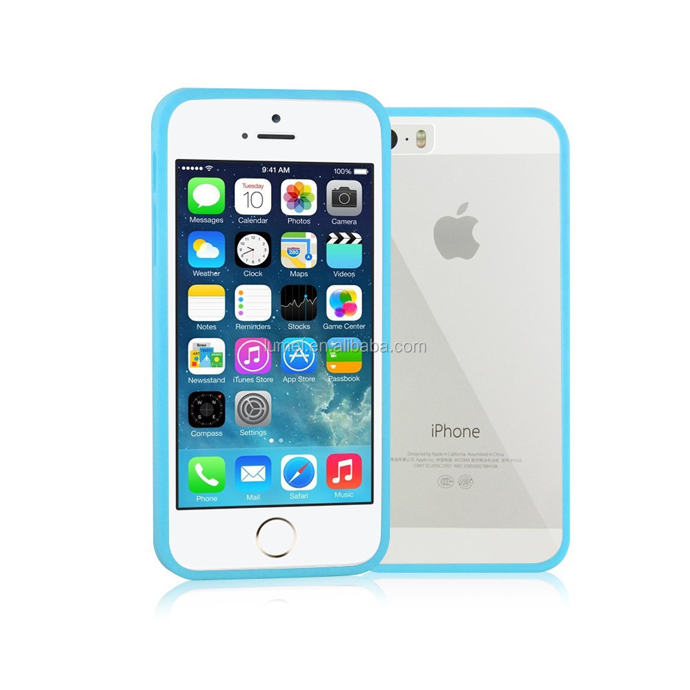Good Quality TPU+PC Bumper Clear Back Case Cover for iPhone 5 Plus