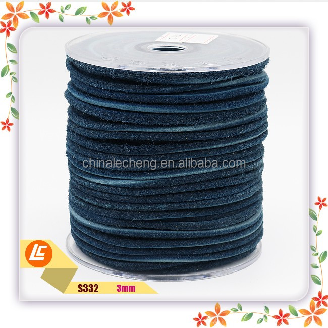 3mm Leather Cord Spool Navy Blue Leather Lace Natural Dye Leather Cord from USA for Wrap Bracelet
