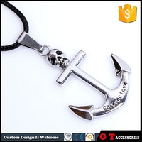 Punk Personalized Skull Anchor Pendant Necklace, English Word Forever Love Necklace, Cheap Fashion Jewelry Made In China
