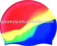 Superb flexible Waterproof Novelty Multicolour Silicone Swimming Cap