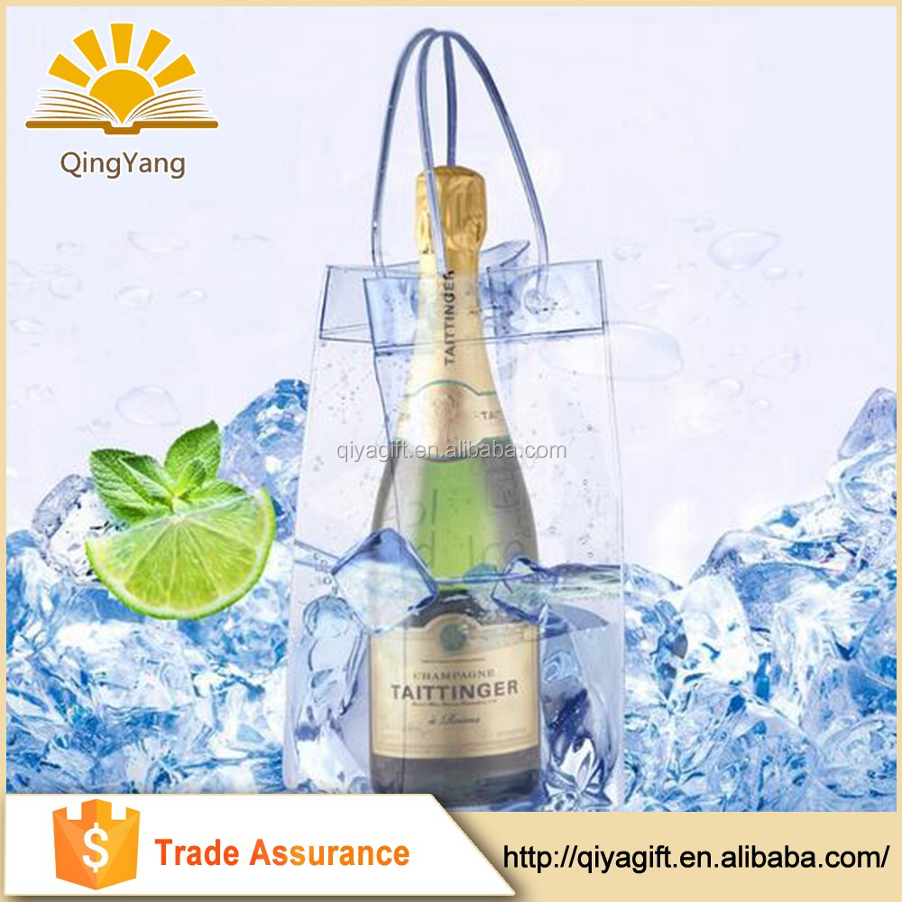 Reusable transparent pvc ice wine bag cooler bag with handle