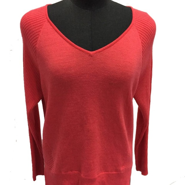 Basic long sleeve thin pullover sweater v neck