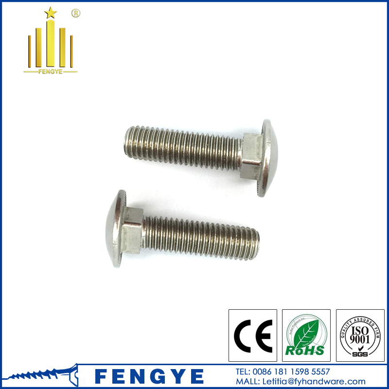 Factory price M6-M20 ss304 316 mushroom head carriage bolt
