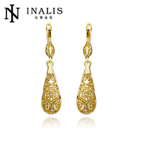 India style gold ear tops designs for bridalsmaid LKN18KRGPE345