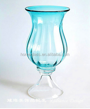 High quality organic lead free blue colored glass vase wholesale,cheap short -stem glass vase
