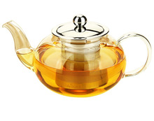 Classic Clear Bloomig Glass Tea Pot With Stainless Steel Strainer & Lid