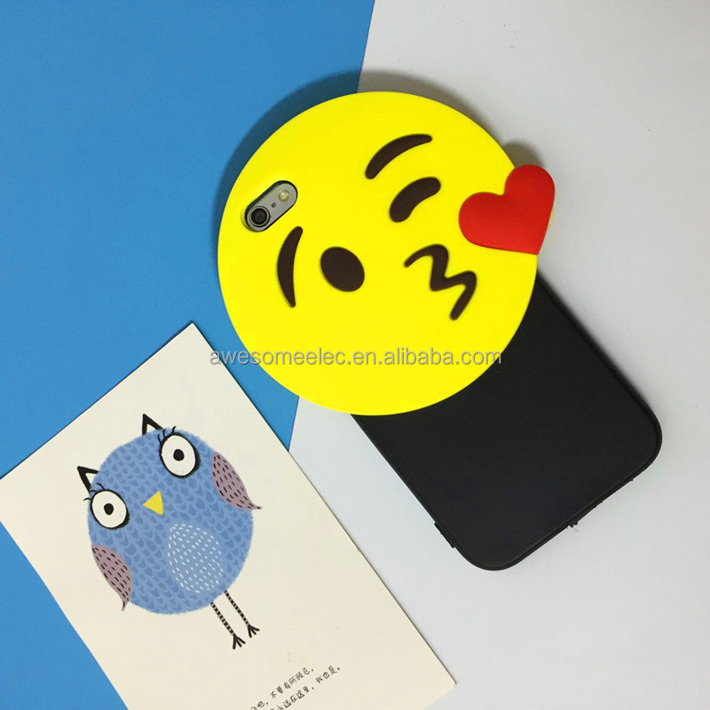 (Free Samples) New design 3D Silicone case, Funny Emoji Face Smiley Face back cover For iPhone 6/6s plus(black)