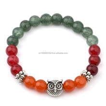 Mix Color Natural Stone Bracelets For Women Tibetan Silver Owl Bracelets & Bangles India Beaded Jewelry