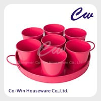 Metal Flower Plant Seed Pot Bucket with Tray Seven Flower Pots Set Flower Tray Beer Tray Garden Kitchen House