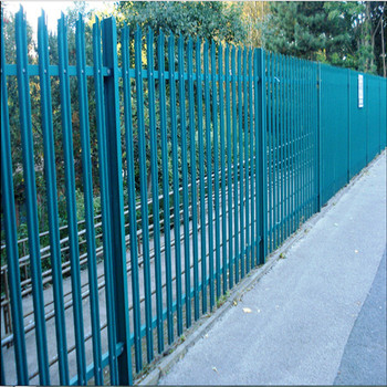 8ft high galvanised W section security palisade steel fencing