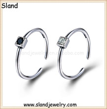 SSRA-122 New Arrival Guangzhou Sland Factory wholesale Jewelry 925 sterling silver square stone rings in white and black