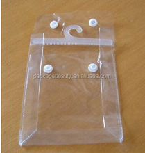 PVC Plastic Hook Bags For Garment T-shirt Packaging With Snap Button