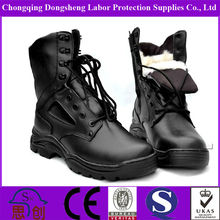 Black full leather winter furcottom lining Warm winter army boots