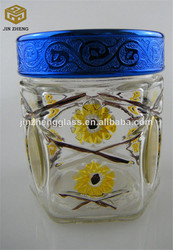 wholesale cheap candy storing flower colored decorative glass pot