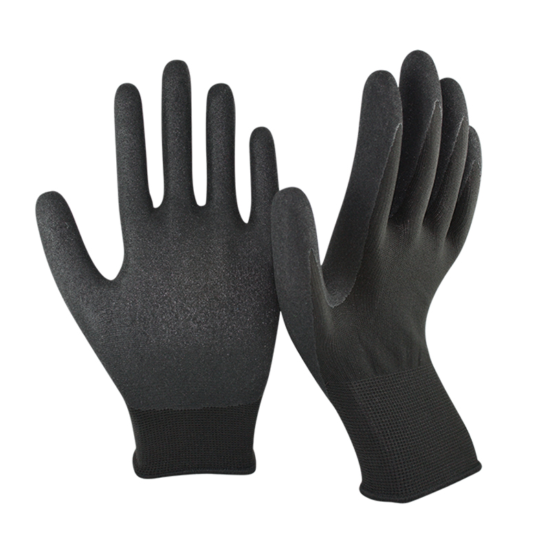 SRSAFETY 13G knitted Nylon coated super Nitrile gloves,Sandy finish
