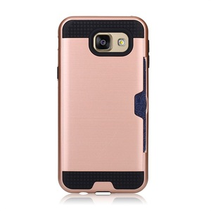 Hot fashion Wire drawing Card slot inserting Mini back cover phone case 2 in 1 protective case for Samsung A810 A8 2016