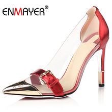 Sexy Red High Heels Pointed Toe Shoes Woman Transparent Upper Large Size 34-43 Wedding Shoes Genuine Leather Womens Shoes