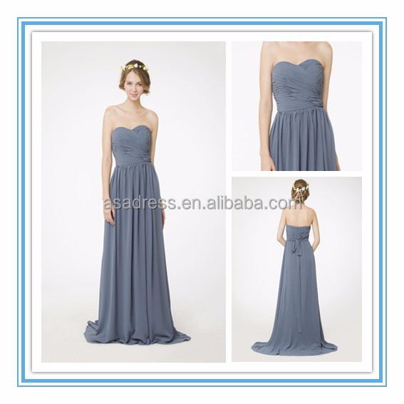 Latest Sweetheart Draped Empire Waist Bridesmaid Gown A-Line Floor Length Chiffon Bridesmaid Dress 2015(RHM-2108)