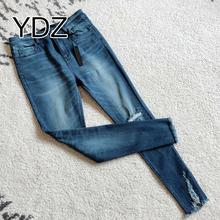 Wholesale Blue Stretch Hole Ladies Jeans Fabric Prices
