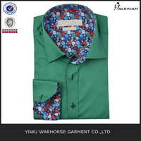 Green floral trim designed shirts for men