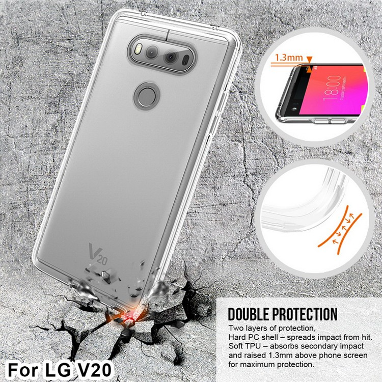 V20 clear phone case, for LG V20 hard case with silicone inlay