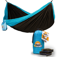 Portable Parachute Nylon Fabric Travel Camping Hammock with tree swing straps