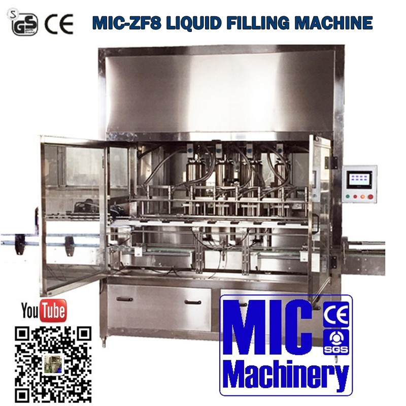 High accurate filling volume MIC-ZF8 8 nozzles liquid detergent filling machine for big platic bottles with CE certificate