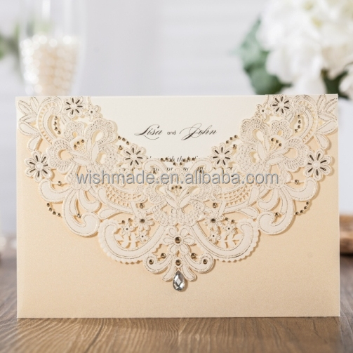 WISHMADE 2017 Hollow Wedding Invitation Cards Design with Gold Laser Cut Flora, RSVP Envelope Thank You Card Kit CW6115