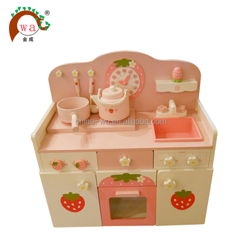 Color wooden kitchen play toy kits with cooking ware set