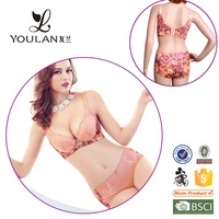 daily classical romantic China supplier underwired red color padded bra and panties set