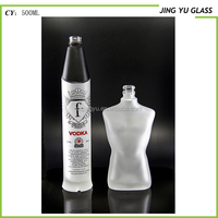 500ML Vodka Glass Bottle Frosted White and Black Color Luxury Fancy Unique Shape Glass Bottle Manufactures