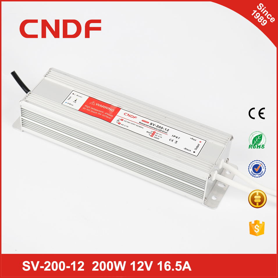 CNDF online shopping india demand SV-200-12 IP67 constant voltage 110v to 220v ac to dc 200w 12v dc power supply