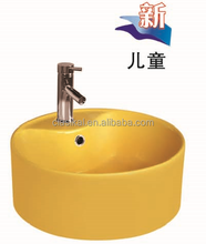 Yellow color for school children use ceramic counter top wash hand basin