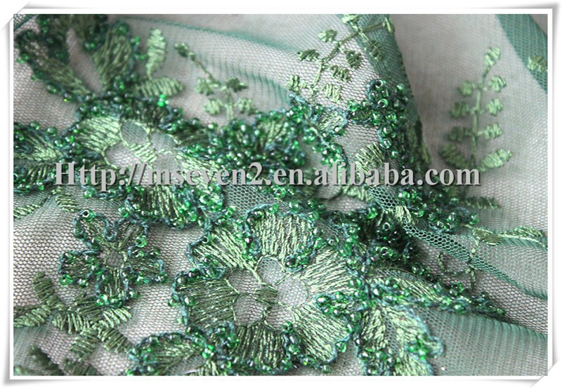 Hot sales green sequin and beaded tulle embroidery lace fabric for new dress
