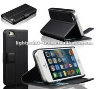 New Stand Patch Wallet Leather Case for iphone5 with card slots