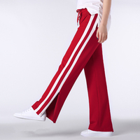 Loss Fit Red Color With White Side Stripe Women Sweat Pants