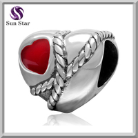 New popular items joyas de plata 925 silver Red heart enamel love charms for couples fit bracelet necklace