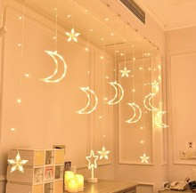 High Quality outdoor indoor moon& star curtain icicle string lights wholesale