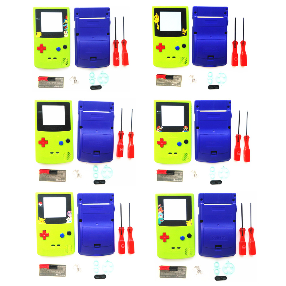 For GBC Pokemon Limitd Version Apple Green & Blue Housing Shell For GBC Housing Case Pack