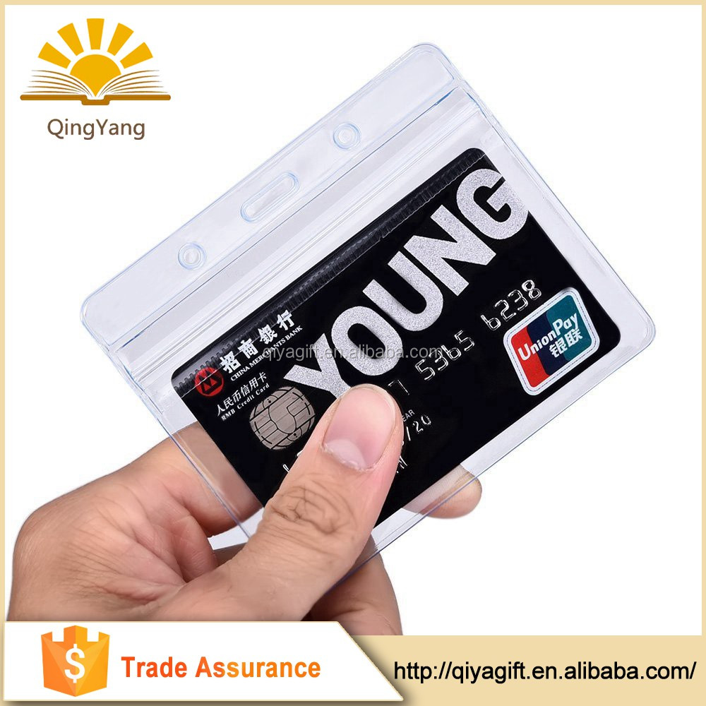 Promotional personalized Clear plastic pvc wholesale credit card sleeves