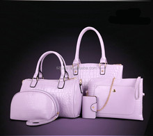 Custom pu 5pcs/set leather casual bag handbag