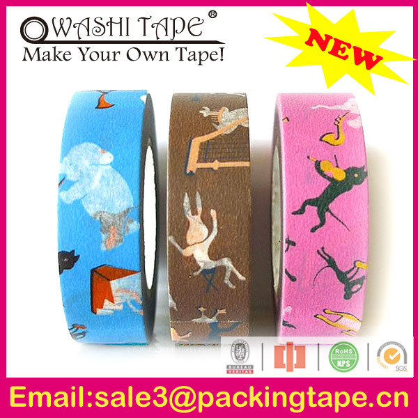 adhesive acrylic masking tape cupcake flags,colorful rice paper tape with free samples offer