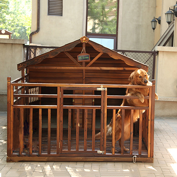 Medium-sized dog kennel wood real wood pet dog house outside waterproof carbide dog cage