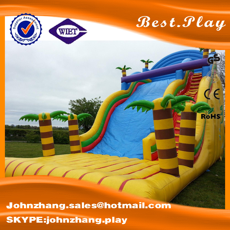 Top selling Jungle Palm inflatable dry slide, giant inflatable water slide for adult, inflatable slide for pool for adult